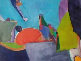 « Rectangle bleu », oil on paper, 70,5x70,5 cm
