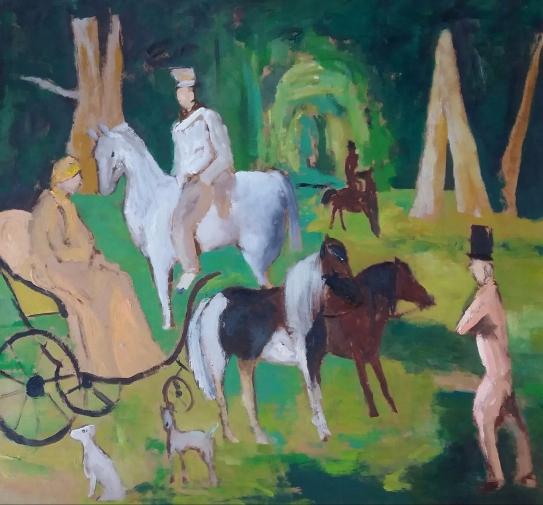 « Interprétation de tableau célèbre», oil on paper, 82x75 cm