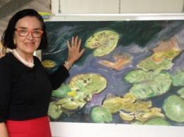 Gabriëlla Cleuren , 50 x 70 cm, acryl sur toile; Gabriëlla Cleuren ist 1942 in einem kleinen Dorf in Belgien geboren. Sie ist Vollblut-Künstlerin und studierte Kunst in Belgien und Hamburg. Eine Besonderheit bei ihren Werken (meistens in Acryl) ist die Spachteltechnik, das heisst sie verwendet einen Spatel anstelle eines Pinsels und erzeugt damit den für ihr Werk so typischen Pixeleffekt. Schon oft habe ich Gaby in ihrem Atelier in St. Niklaas besucht, wo sie seit 1997 wohnt.