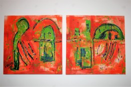 """Orange archs"" Acrylic on canvas 2 x 50 x 50 cm"