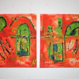"""Orange archs"" Acrylic on canvas 2 x 50 x 50 cm"