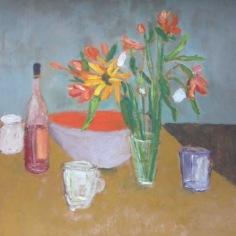 3. « Verre », bouteille, fleurs, oil on paper, 69x63cm